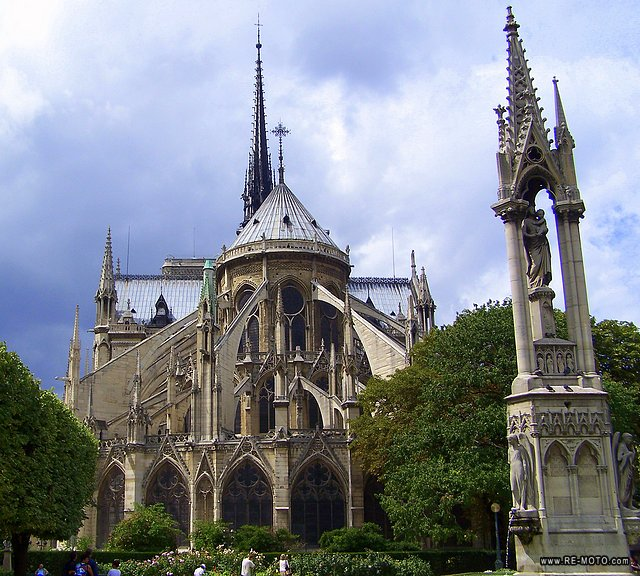 The famous gothic cathedral of Notre Dame.